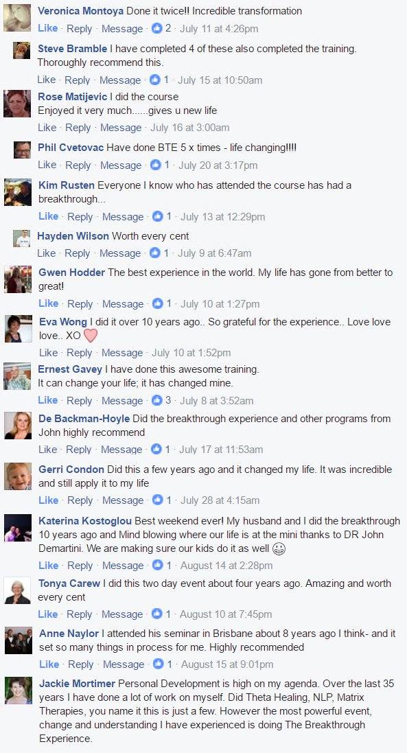 List of Facebook Testimonials